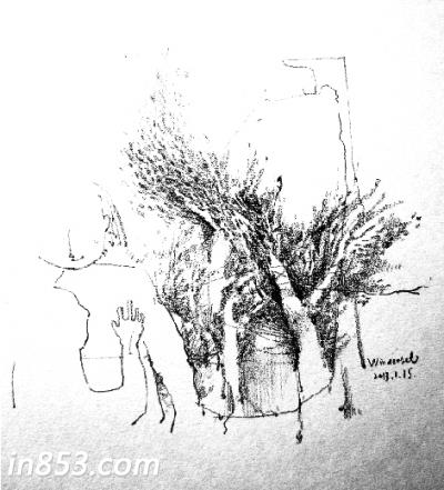 秋天树木素描画