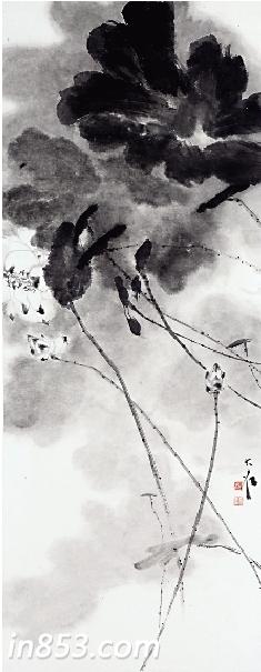荷花图片手绘水彩笔画渐变色