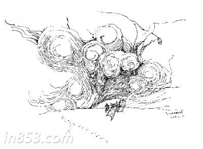 雪里灯笼手绘图
